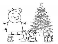 Свиннка пеппа встречает новый год Зимние раскраски для мальчиков