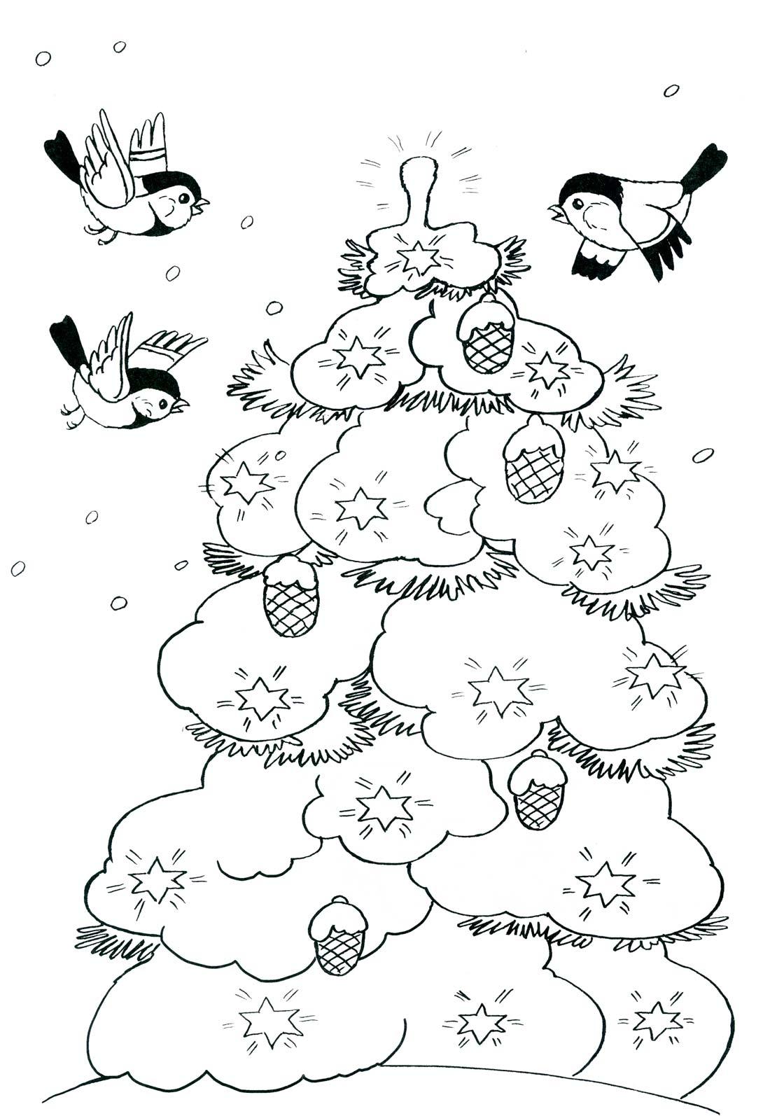 Зима, птицы вокруг елки Зимние раскраски для девочек