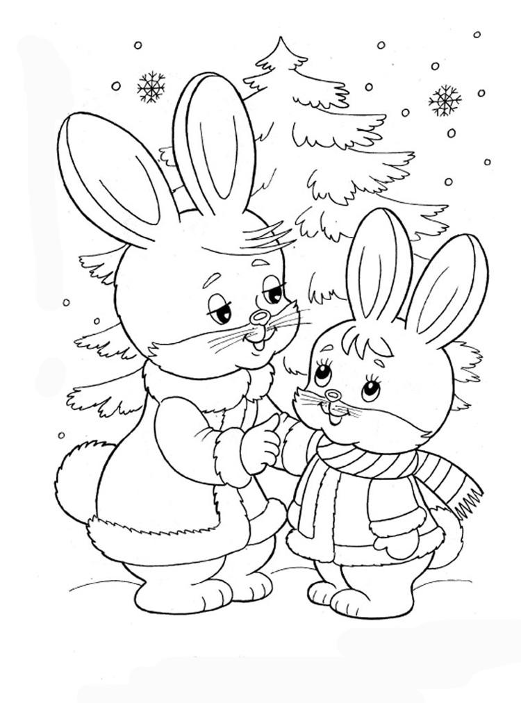 Зайчиха с зайченком у елочки Зимние раскраски для мальчиков