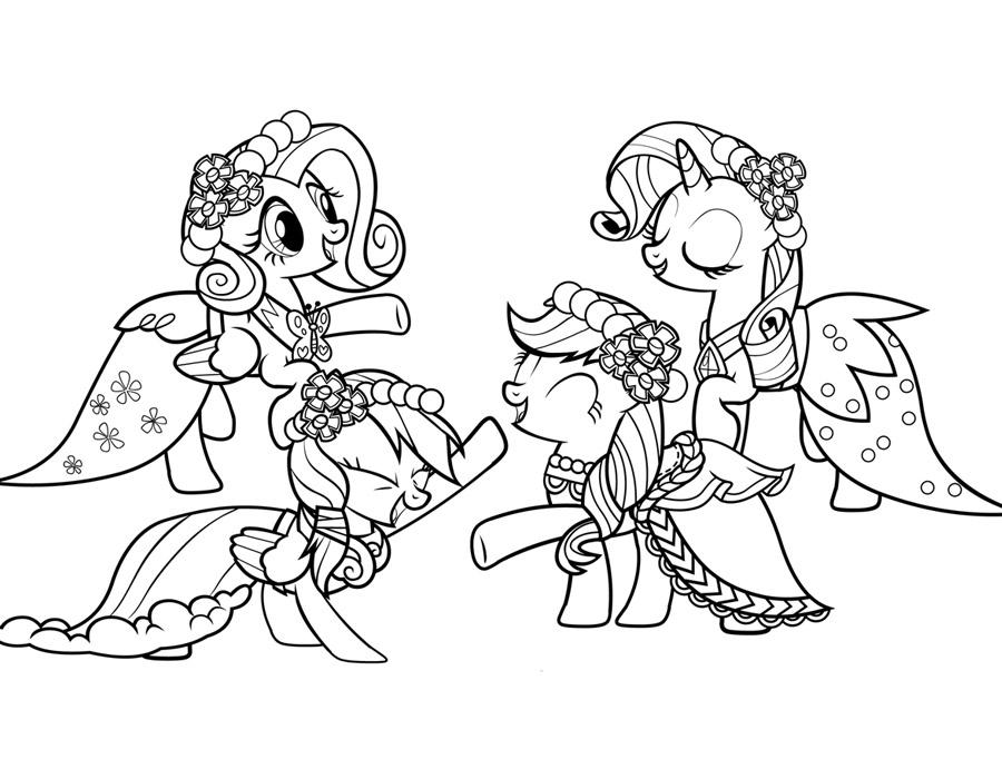 Май литл пони в карнавальных костюмах Детские раскраски зима распечатать