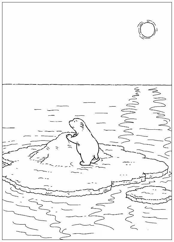 Медвежонок на дрейфующей льдине Зимние раскраски для мальчиков