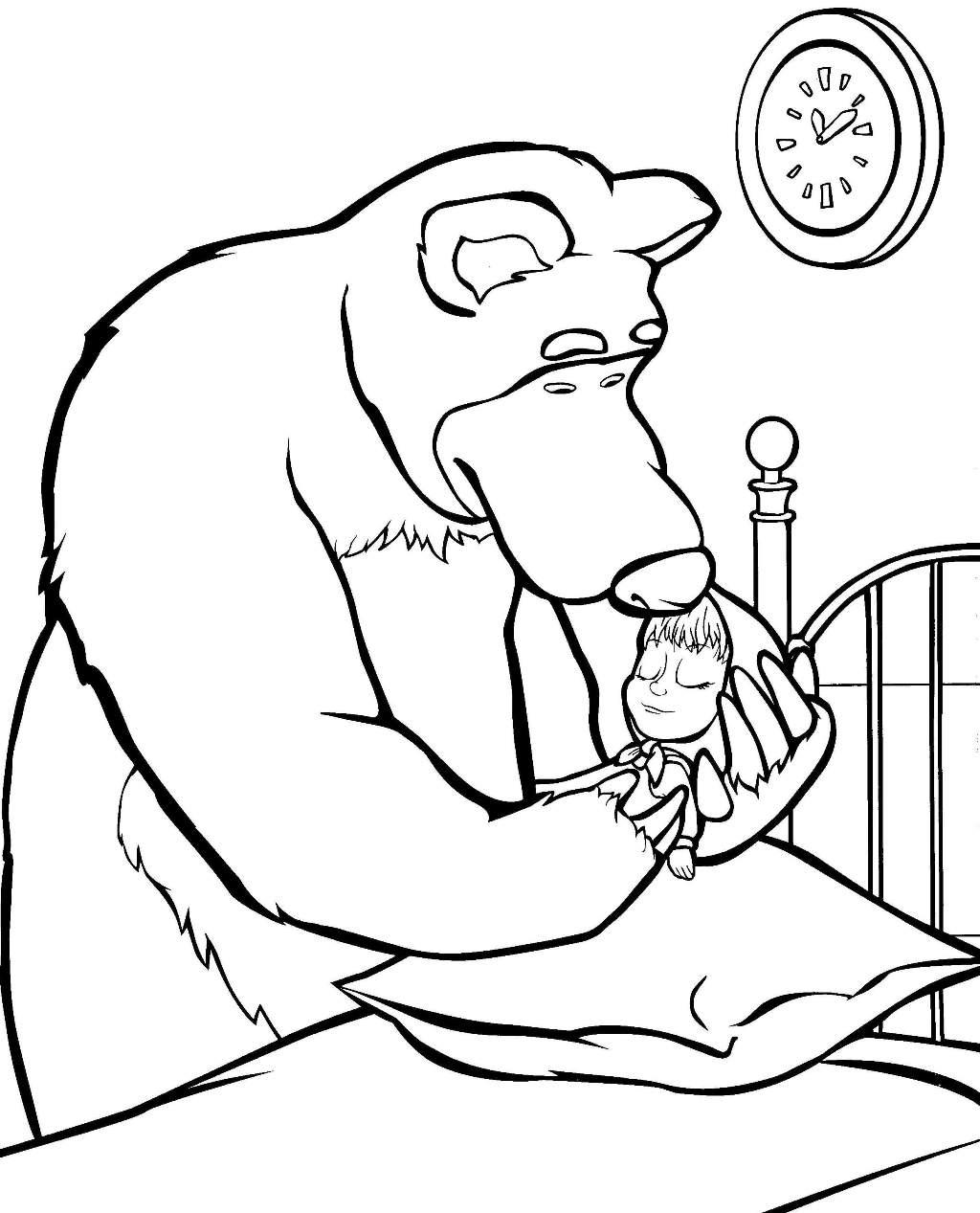 Медведь укладывает машу спать Зимние раскраски для мальчиков