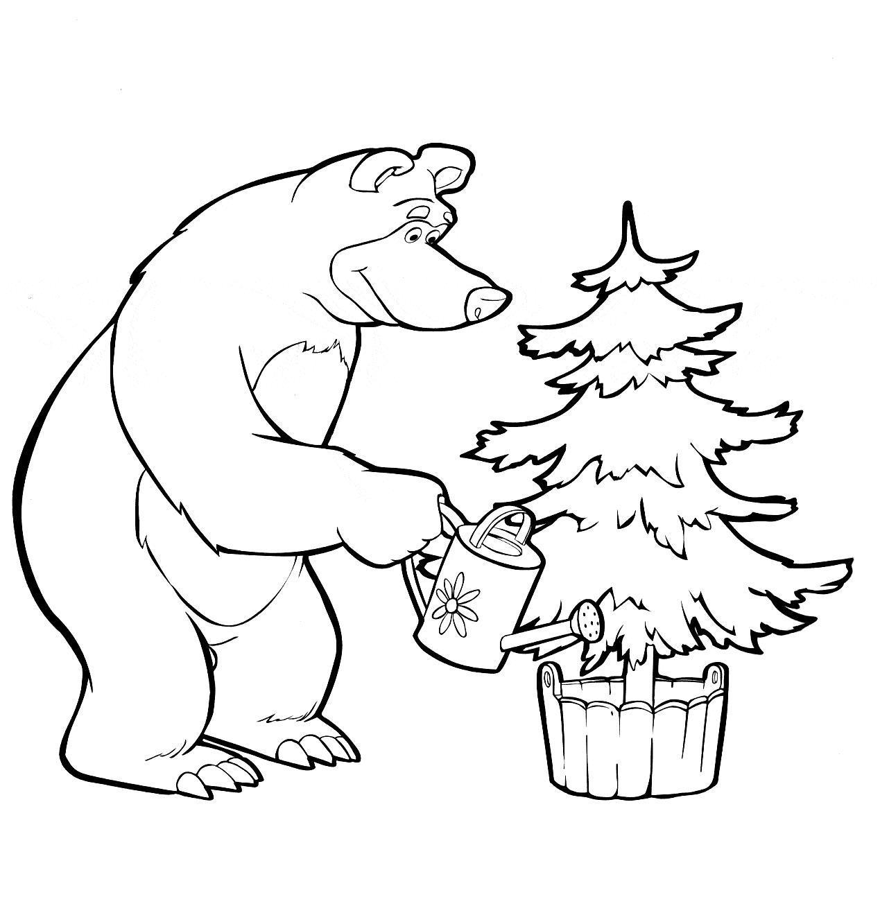 Мишка растит елочку к новому году Зимние раскраски для мальчиков