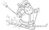 Дед мороз на лыжах Раскраска зима пришла