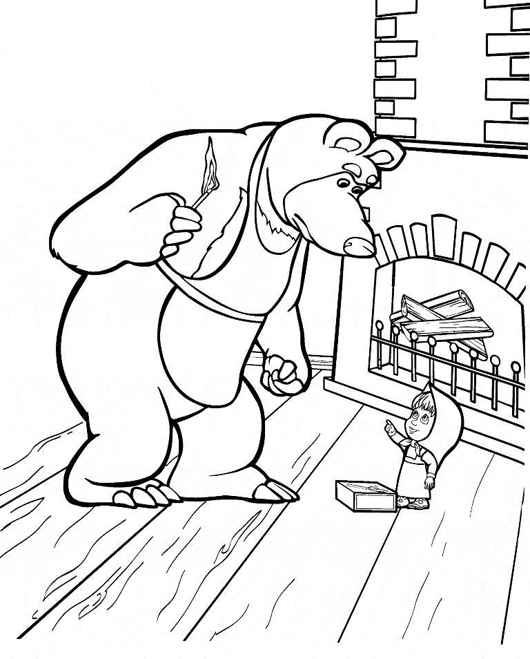 Маша и медведь возле камина Зимние раскраски для мальчиков