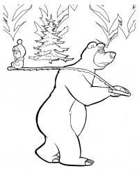Маша и медведь ищут елочку к новому году Зимние раскраски для мальчиков