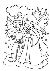 Мальчик с елочкой и девочка в костюме ангела Зимние рисунки раскраски