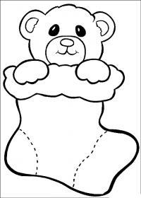 Новый год, игрушка медвежонок в подарок Раскраска сказочная зима