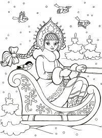 Новый год, снегурочка едет в санях Раскраски зима скачать бесплатно