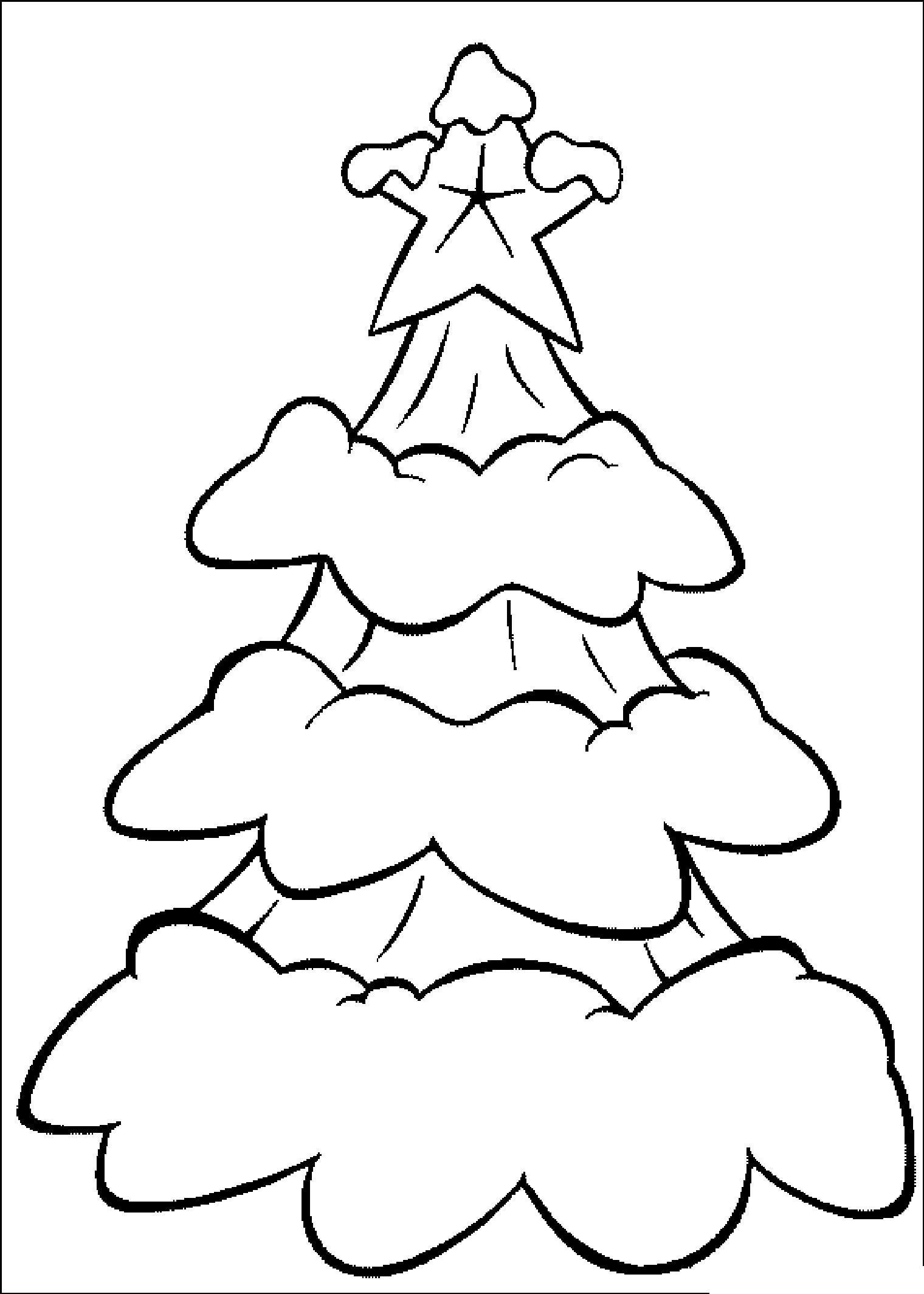 Новый год, заснеженная елочка со звездой Раскраски для детского сада