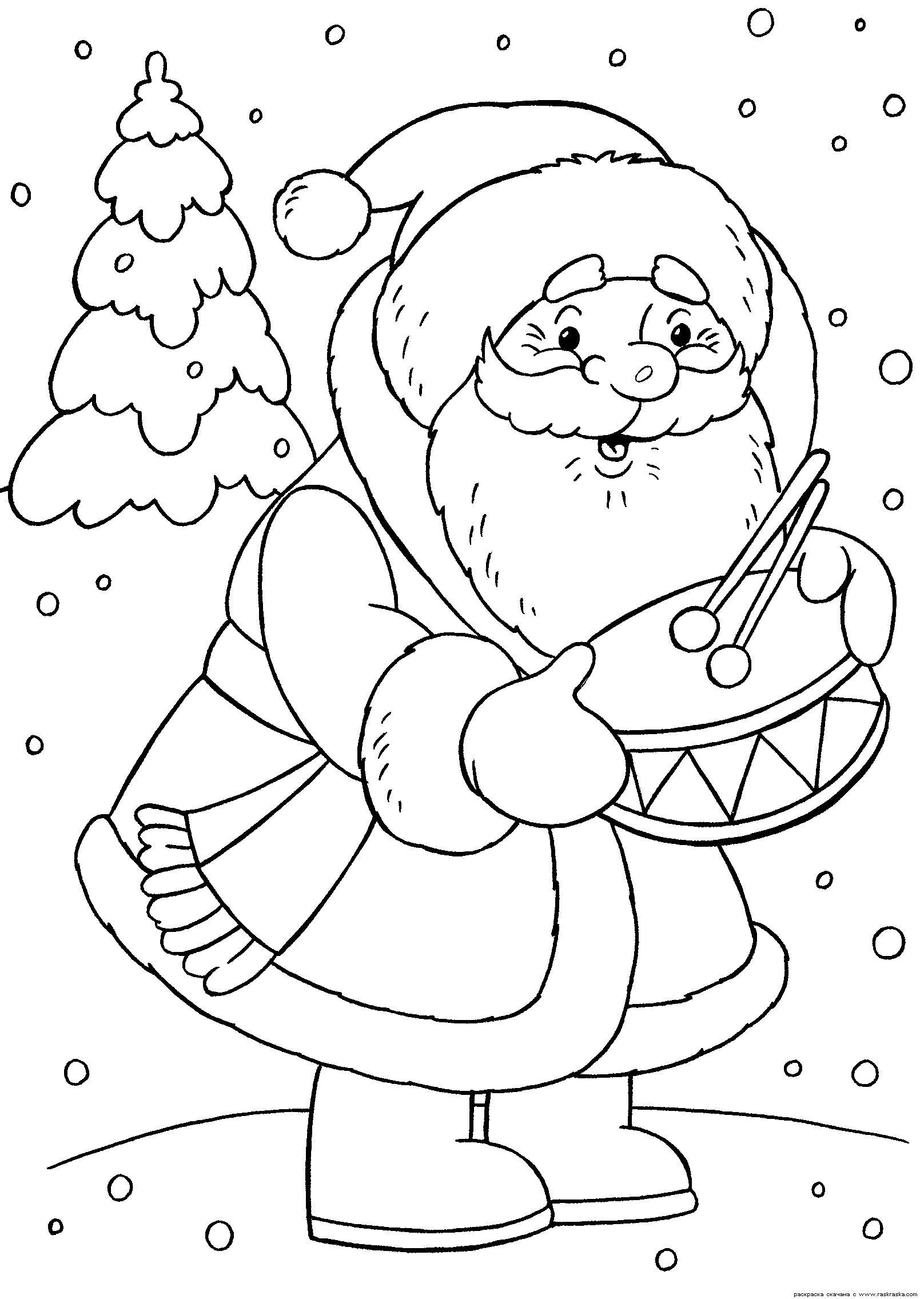 Новый год, дед мороз с барабаном Раскраска зима пришла