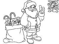 Новый год, дед мороз с мешком подарков Раскраска зима пришла