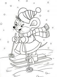 Новый год, мышка на лыжах Детские раскраски зима распечатать