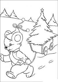 Новый год, мышонок везет елочку домой Детские раскраски зима распечатать