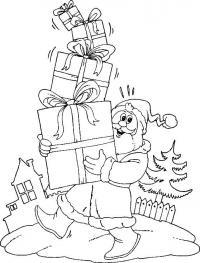 Новый год, дед мороз несет подарки Зимние рисунки раскраски