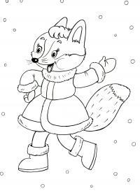Новый год, танцующая лисичка Детские раскраски зима распечатать