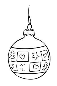 Новый год, шар украшенный елочками, звездочками исердечками Зимние рисунки раскраски