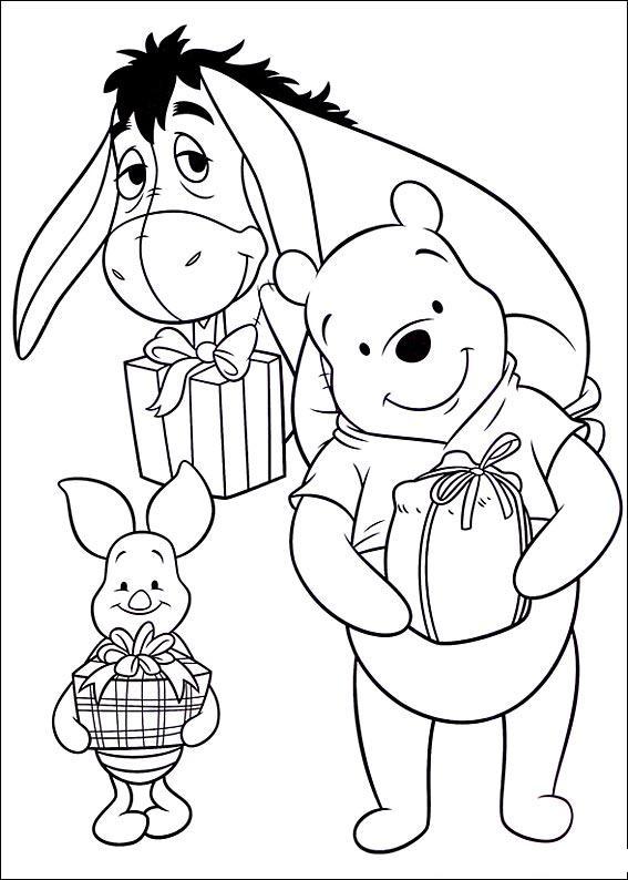 Новый год с героями мультфильма винни пух Зимние раскраски для малышей