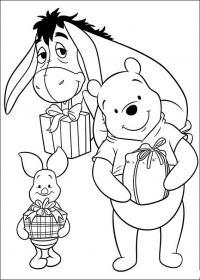 Новый год с героями мультфильма винни пух Зимние раскраски для мальчиков