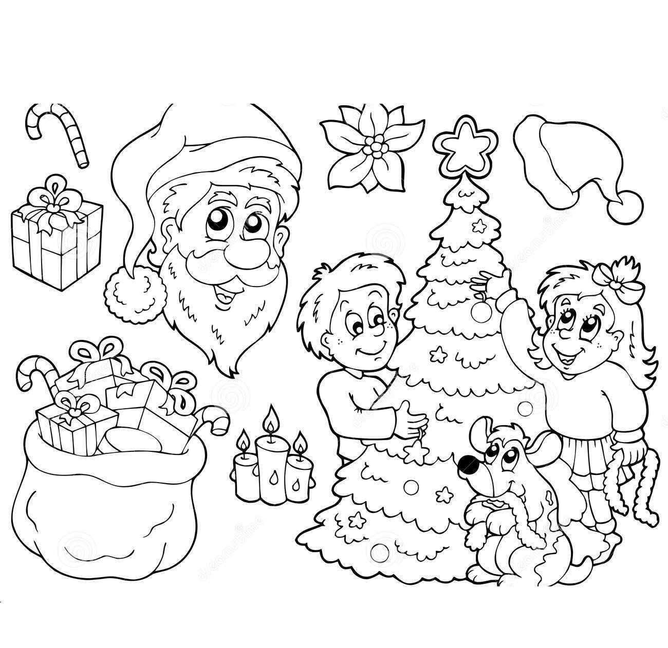 Атрибуты нового года Зимние рисунки раскраски