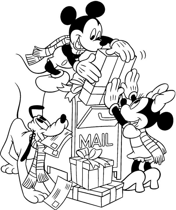 Новый год, микки маус и минни отправляют подарки к новому году Зимние рисунки раскраски