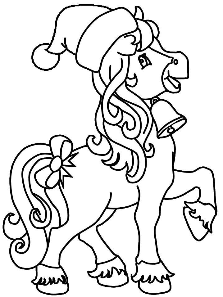 Новый год, пони с колокольчиком в шапочке Детские раскраски зима распечатать