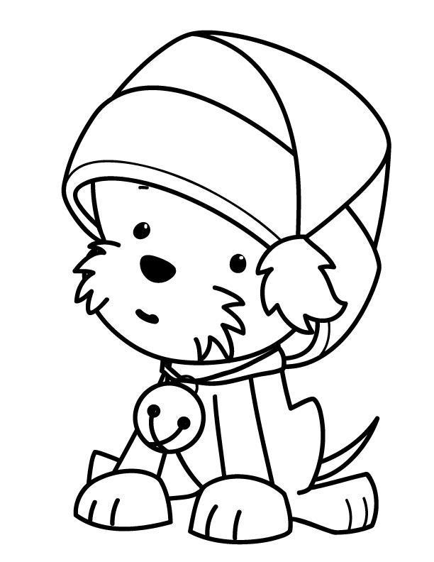 Новый год, щенок в шапочке с бубенцом Зимние рисунки раскраски