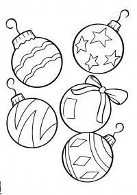 Новый год, разнообразные шары Зимние рисунки раскраски