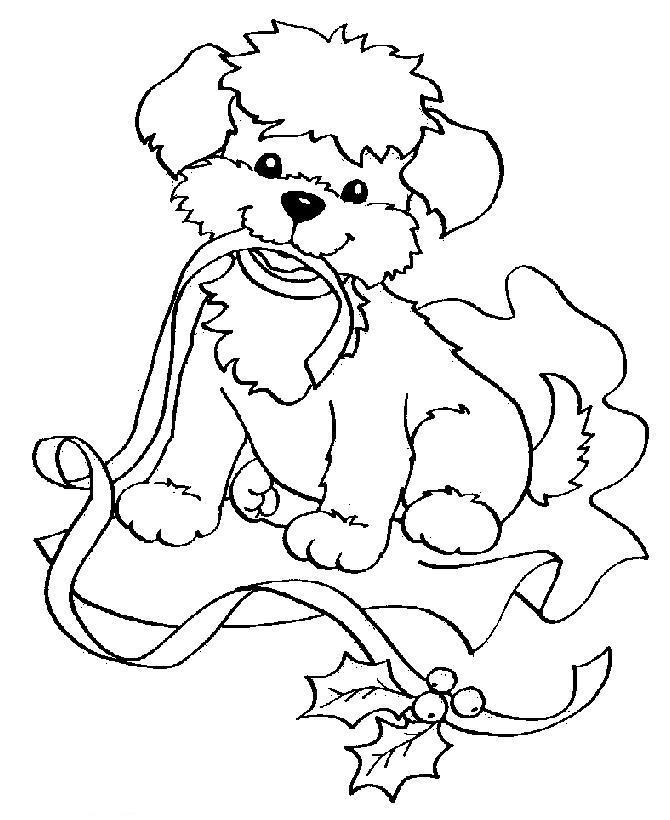 Новый год, щенок в подарок Зимние рисунки раскраски