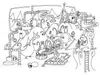 Новогодний переполох зверей Зимние рисунки раскраски