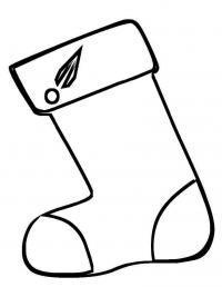 Новый год, носочек для подарков Раскраска сказочная зима