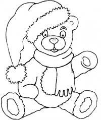Плюшевый мипшка на новый год Зимние рисунки раскраски