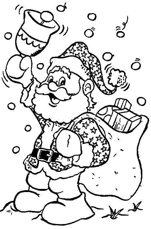 Новый год, санта звенит в колокольчик Рисунок раскраска на зимнюю тему