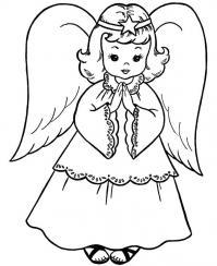 Новый год, девочка в костюме ангелочка Раскраски про зиму для детей