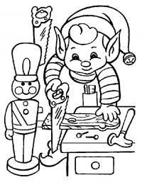 Новый год, эльф мастерит игрушки Зимние рисунки раскраски