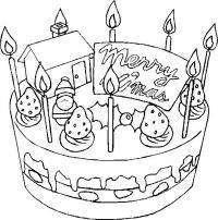 Новый год, торт к рождеству Зимние рисунки раскраски