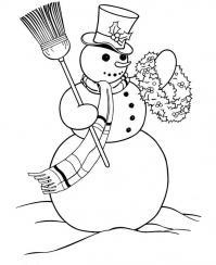 Снеговик с хвойным веночком Зимние рисунки раскраски