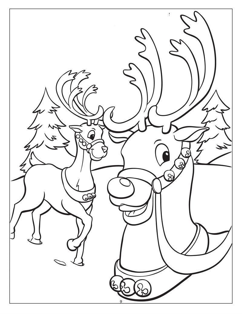 Олени украшенные в бубенцы Детские раскраски зима распечатать