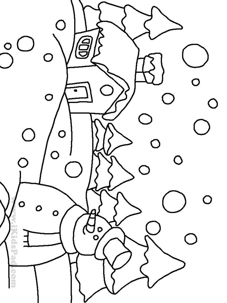 Снеговик возле избушки Рисунок раскраска на зимнюю тему