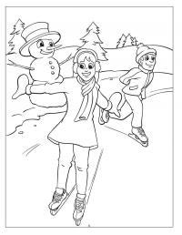 Катание на коньках Рисунок раскраска на зимнюю тему