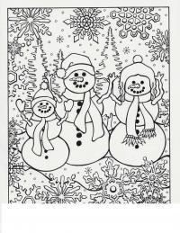 Семья снеговиков Рисунок раскраска на зимнюю тему