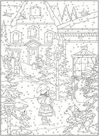 Зима в нашем городе Рисунок раскраска на зимнюю тему