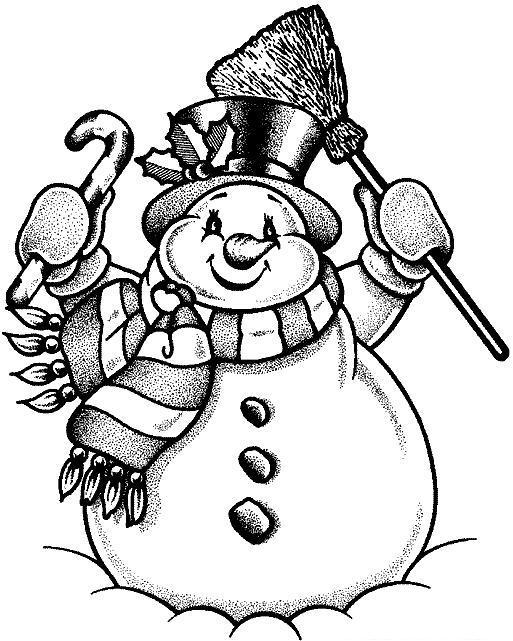 Очень красивый и добрый снеговик Рисунок раскраска на зимнюю тему