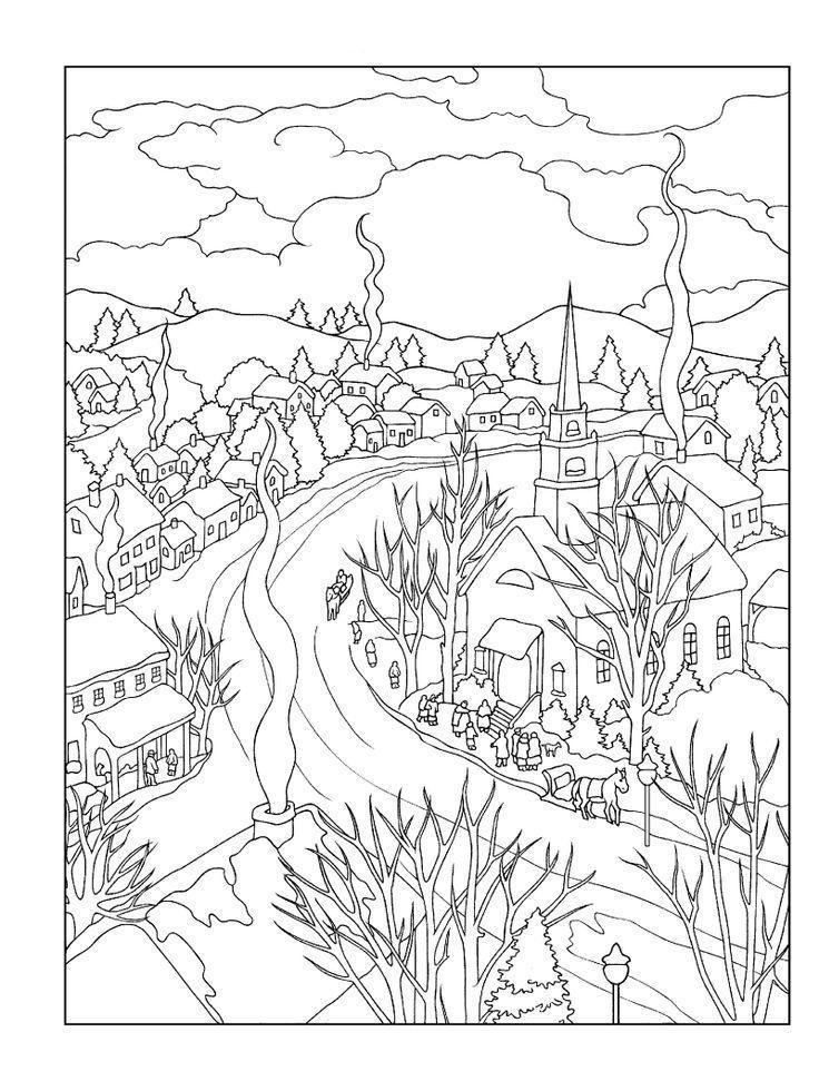 Зима в деревне Детские раскраски зима распечатать