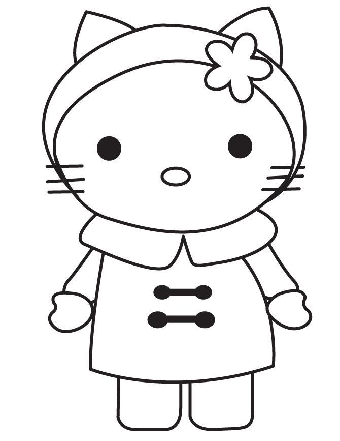 Китти в зимнем Детские раскраски зима распечатать