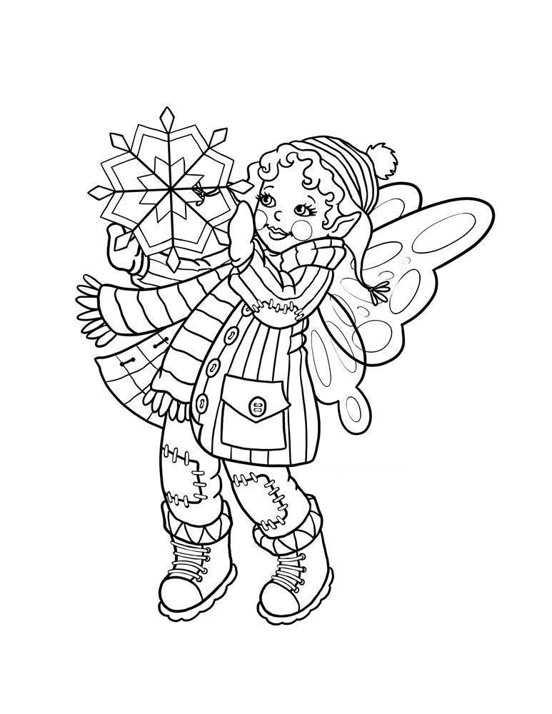 Девочка фея со снежинкой Раскраски про зиму для детей