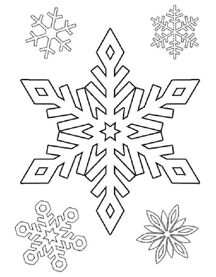 Раскраска снежинки для детей распечатать