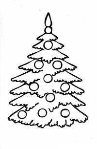 Простая елочка с шарами Раскраски на тему зима