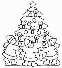 Хоровод детей вокруг елки Раскраска зима