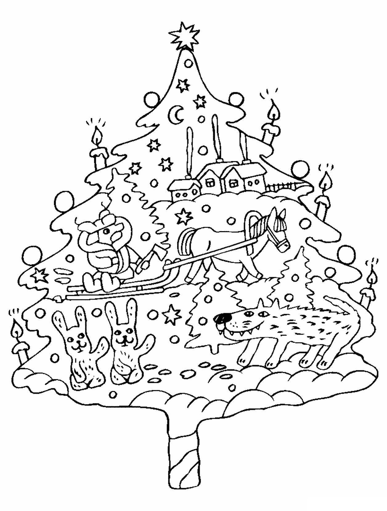 Елка украшенная новогодней историей Раскраски на тему зима